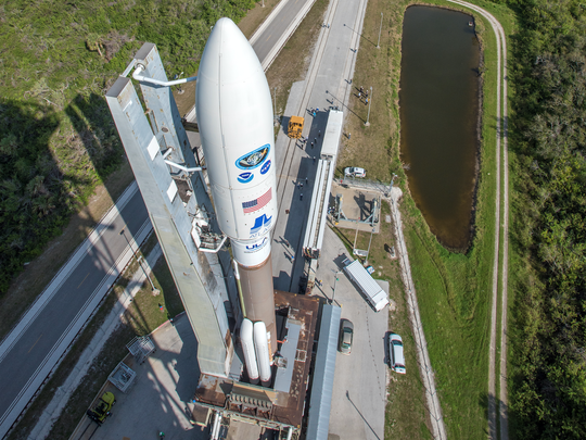 United Launch Alliance's Atlas V rocket is transported to the pad at Launch Complex 41 with the GOES-S weather satellite on Wednesday, Feb. 28, 2018.