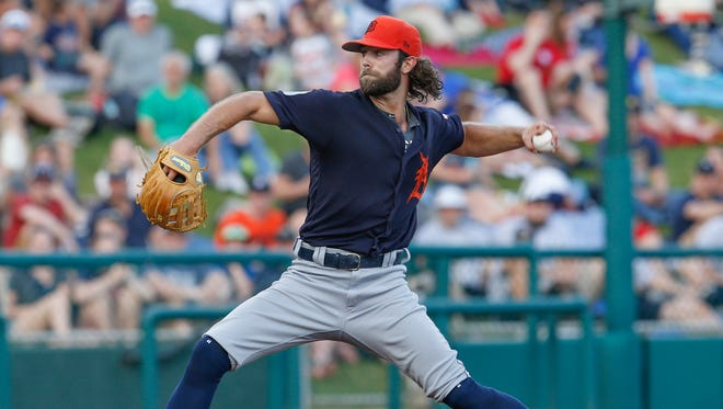 Tigers pitcher Daniel Norris (44) throws a pitch during the first inning Monday in Lake Buena Vista, Fla.