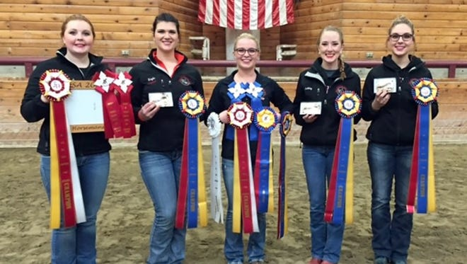 UW-River Falls western equestrian team members (from left) Danielle Paulson, Mikayla Mack, Autumn Kappers, Ashley Gapinski, Rachel Shamro have earned the right to compete at IHSA semi-finals March 24-25.