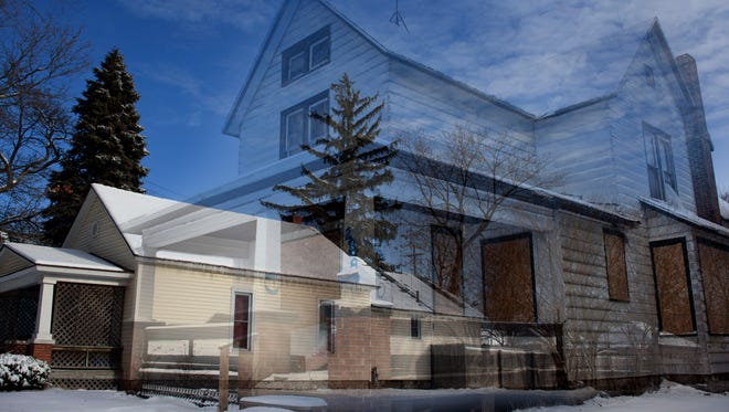 This photo illustration shows where a blighted home once stood at 2008 Seventh St. in Port Huron.
