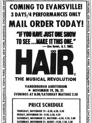 Hair: The American Tribal Love-Rock Musical advertisement.
