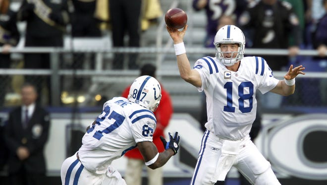 Indianapolis Colts' Peyton Manning tosses a short pass to Reggie Wayne on Nov. 22, 2009.