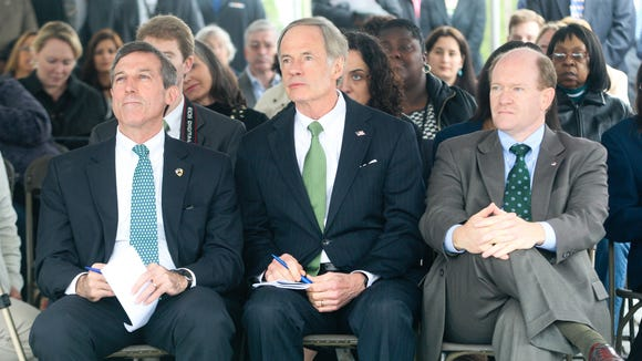 Rep. John Carney, Sen. Tom Carper and Sen. Chris Coons, on March 16, 2012.