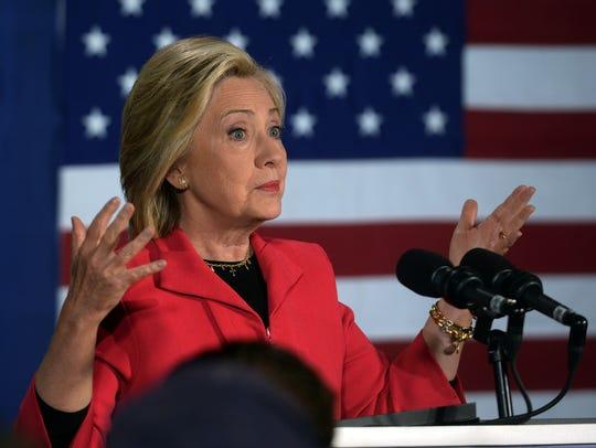 Hillary Clinton speaks in Concord, N.H., on June 15,