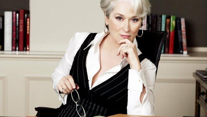 "Meryl Streep as Miranda Priestly in the 2006 film ""The Devil Wears Prada."""