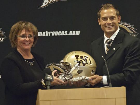 WMU athletic director Kathy Beauregard, left, introduced