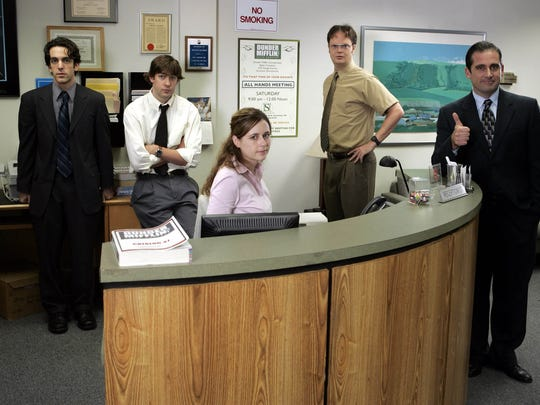 "Jenna Fischer is shown with the rest of the cast from ""The Office,"" (from left) B.J. Novak, John Krasinski, Rainn Wilson and Steve Carell."