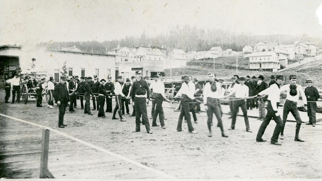 Tiger Fire Company No. 2 of Salem competes in a tournament in Astoria in June 1885.