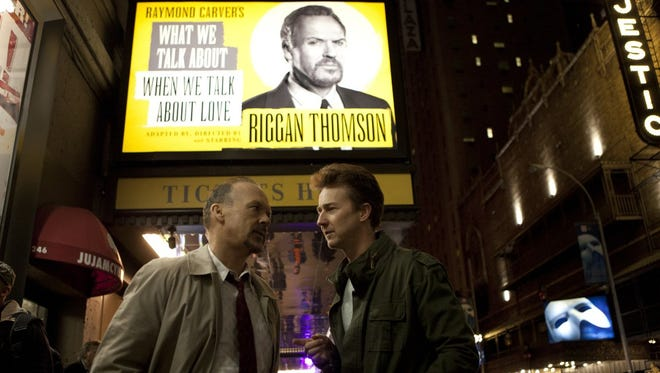 """Michael Keaton and Edward Norton in a scene from the upcoming film """"Birdman."""""""