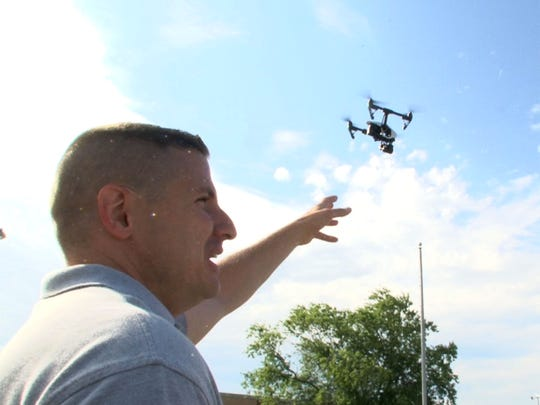 A DJI Inspire drone piloted by James Kosma, the owner