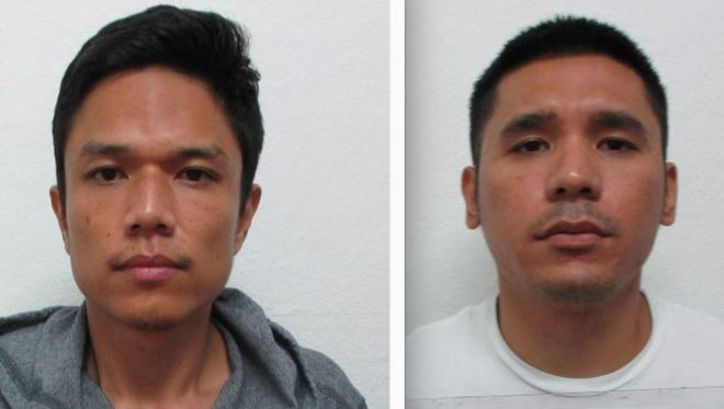 Jay Ryan Gaza, left, and Kyle Austero Pablo are shown in this combined image of their booking mugshots.