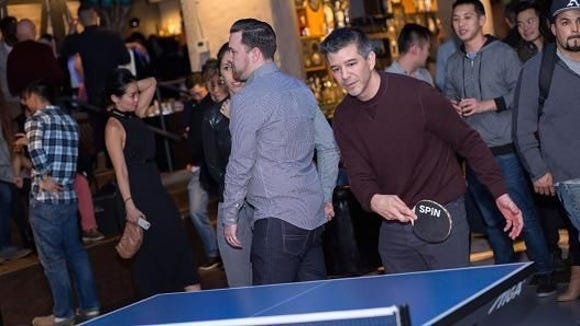 Uber CEO Travis Kalanick showing off his backhand.