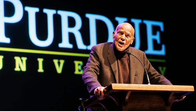 "Harry Belafonte delivers the keynote address at the Martin Luther King Jr. commemorative program Tuesday, Jan. 17, 2017, in Loeb Playhouse on the campus of Purdue University. ""The ending of civilization is what's at stake,"" Belafonte said of the presidency of Donald Trump."