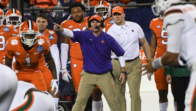Clemson defensive coordinator Brent Venables during the third quarter of the Dr.Pepper ACC football championship in Charlotte on Saturday.