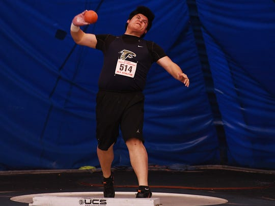 NJSIAA Boys State Indoor Track and Field Championships at John Bennett Indoor Sports Complex in Toms River on Saturday, Feb. 25, 2017. Saddle Brook's Giovanni Gutierrez competes in the shot put.