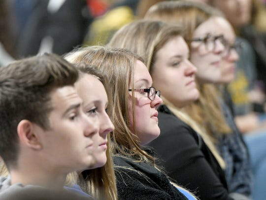Area students listen to a speaker Thursday morning during Junior Day at te Crawford County Fair.