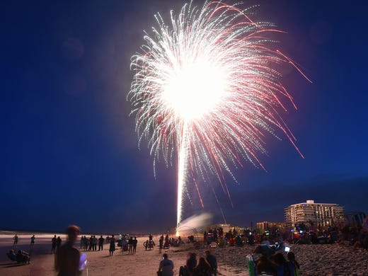 Crowds Lined The Beaches To Watch Cocoa Beach Fireworks