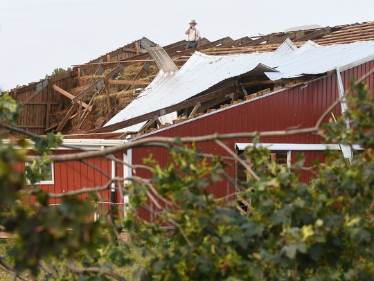 A barn roof was ripped off during Monday night's storm