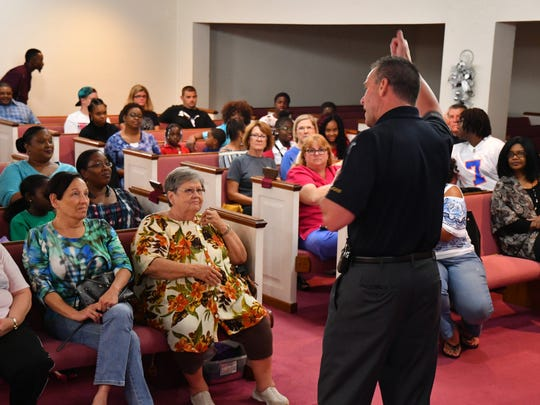 Rockledge Police hosted an active shooter training class at Faith Temple Christian Center Wednesday night. After being introduced by Rockledge Police Chief Joseph LaSata, Lt. Thomas Snider ran the training.