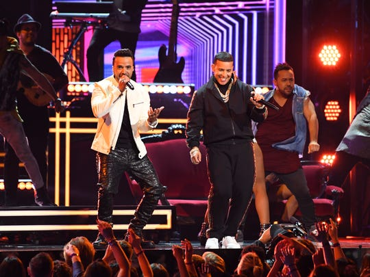 Luis Fonsi and Daddy Yankee featuring Zuleyka Rivera perform 'Despacito' during the 60th Annual Grammy Awards at Madison Square Garden.