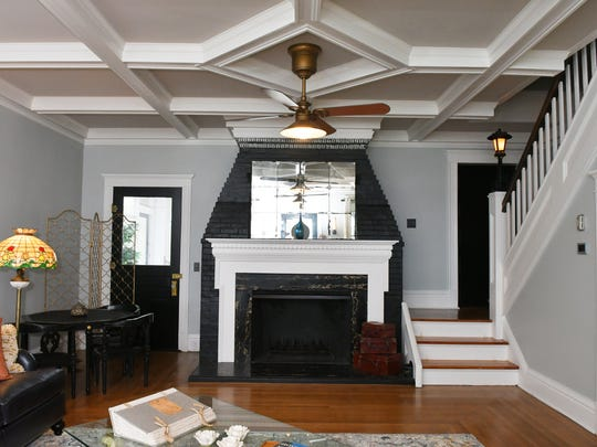 The living room features the original ceiling. 709 Rockledge Drive, located along the Indian River, will be part of the March 17, 2018 Historic Homes & Garden Tour by the Cocoa Rockledge Garden Club.