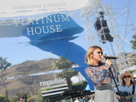 Julia Michaels performs at the American Express Platinum