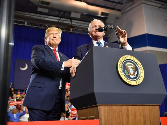 President Donald Trump and South Carolina Gov. Henry McMaster at a campaign rally in Columbia, S.C., June 25, 2018.