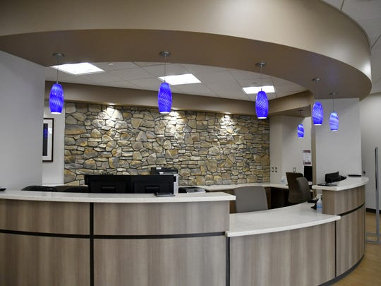 The nearly-completed front desk at Kaweah Delta's new Urgent Care Center in northwest Visalia.