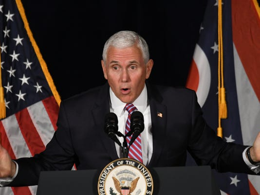 October 31, 2018 Vice-president Mike Pence was at Lahm Airport in Mansfield on Wednesday to campaign for Ohio Republicans Bob Gibbs, Jim Renacci, Mike Dewine, and Troy Balderson. (Photo: Jason J. Molyet/News Journal, Jason J. Molyet/News Journal)