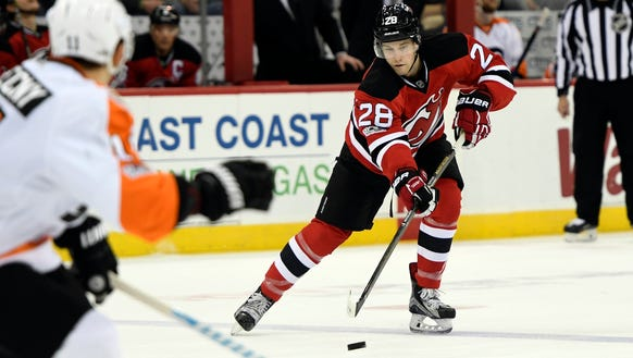 New Jersey Devils' Damon Severson (28) in the second