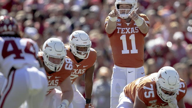 Texas quarterback Sam Ehlinger led the Longhorns to a thrilling 63-56 overtime victory at Texas Tech on an afternoon when the defense gave up five touchdown passes and a 75-yard touchdown run in the final minutes of the fourth quarter.