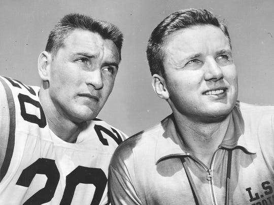 Billy Cannon (left) and Paul Dietzel (coach) LSU football 1958