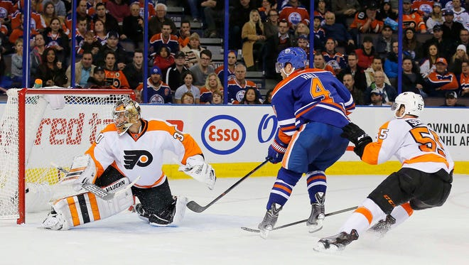 Taylor Hall's goal at 7:40 of the third period gave the Oilers the lead for good.