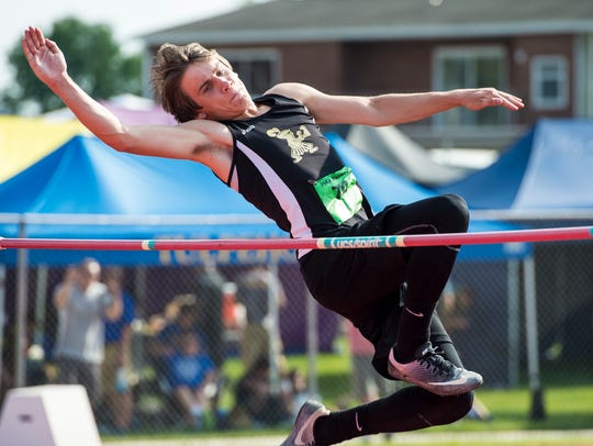 Delone Catholic's Ryan Malinowski competes in the high