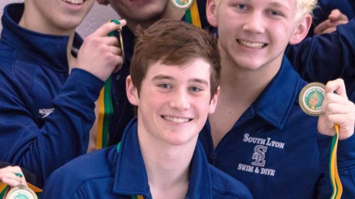 South Lyon Unified's Logan Boals, Brandon Bell, Max Kempisty and James Perry placed second in the 200-yard medley relay at the Clash of the Underclassmen meet Saturday in Howell.