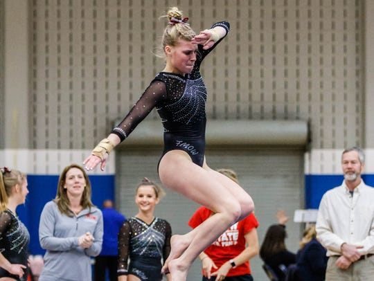 Franklin/Muskego/Oak Creek/Whitnall co-op gymnast Abigail