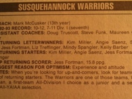 "Our preseason writeup before the 1993-94 season. I'm the artist formerly known as ""Liz Treffinger"""