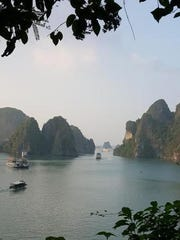 A view of Halong Bay, a UNESCO world heritage site in the Gulf of Tonkin, Vietnam.