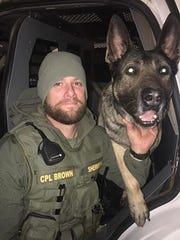 Wichita County Sheriff's Office Corp. Josh Brown and K-9 Officer Kimbo. Kimbo is retiring after 8.5 years of service. Kimbo will continue to live with Brown.
