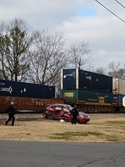 One person was injured after a crash involving a car and a train in Greenbrier on Tuesday, Dec. 12, 2017.