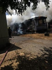A fire destroyed this mobile home in Cottonwood on