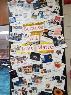 The bulletin board shown in this image at Eisenhower Middle School in Rockford was taken down by the school on Wednesday morning. The school said the message conveyed does not represent the beliefs of the school.