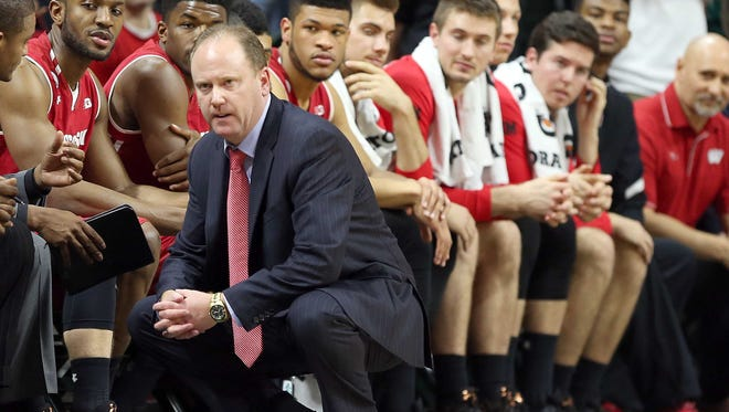 Badgers coach Greg Gard looks on during his team's loss to the Spartans Sunday afternoon.