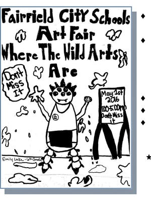 Fairfield Intermediate School sixth grader Jayla Swain is one of six students who created posters to promote the district's May 1 Arts Fair with the theme, Where the Wild Arts Are.