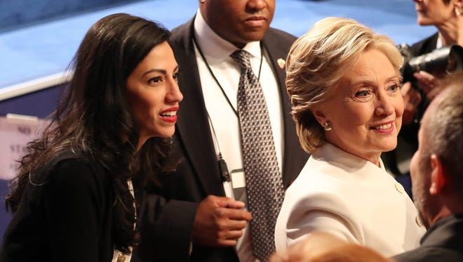 Hillary Clinton and Huma Abedin at the end of the final presidential debate at the University of Nevada-Las Vegas on Oct. 19, 2016.