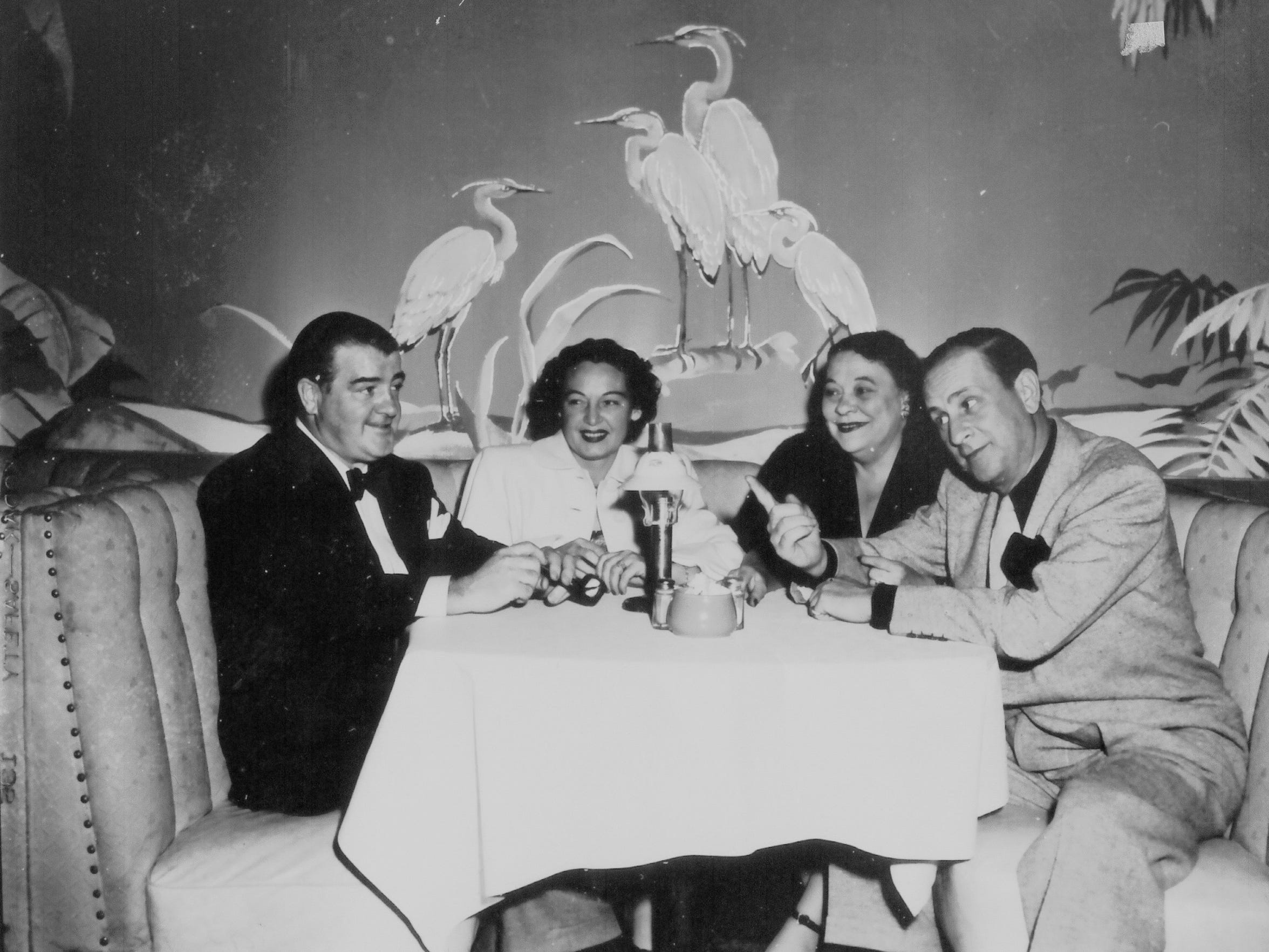Lou Costello (far left) and Bud Abbott (far left) at Chi Chi.