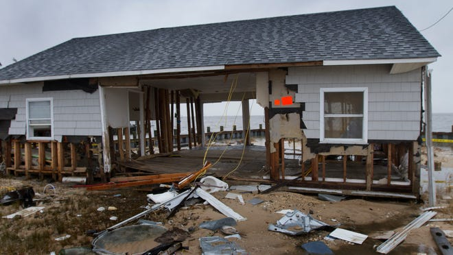 A home along Bayshore Drive, just north of the Barnegat Public Beach, was destroyed by superstorm Sandy.