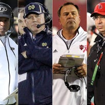 Purdue's Darrell Hazell (from left), Notre Dame's Brian Kelly, Indiana's Kevin Wilson and Ball State's Pete Lembo.