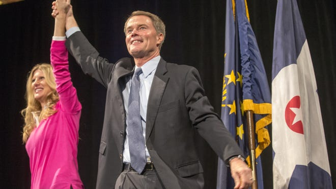 Mayor-elect Joe Hogsett was introduced with his wife, Stephanie, at the Democratic election night event at Union Station in Downtown Indianapolis.