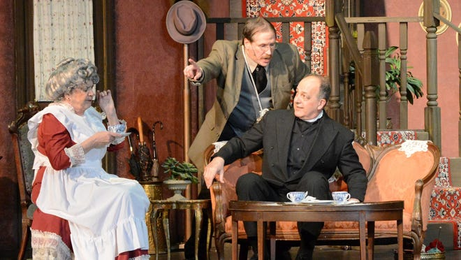 "Starring in Candlelight Dinner Theatre's ""Arsenic and Old Lace"" are, from left, Susan Dewey as Aunt Abby, David Owen Cashall as Teddy and Barry Gomolka."